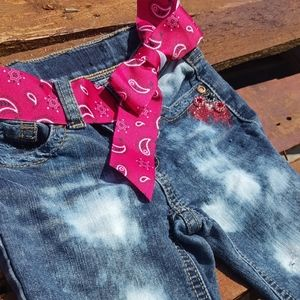 Distressed Western Red Paisley Girls Jeans